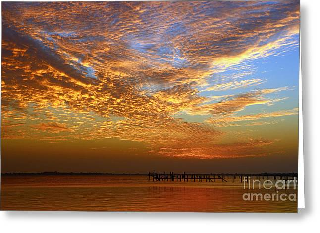 Orange And Blue Downtown Sunrise Greeting Card by Tom Claud