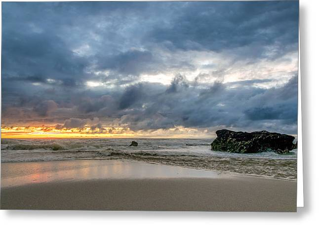Orange And Blue Greeting Card by Martin Capek