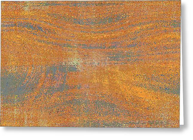 Orange And Gray Abstract Greeting Card by Carol Groenen