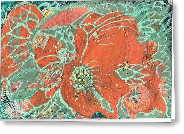 Orange And Green And A Tangerine Greeting Card by Anne-Elizabeth Whiteway