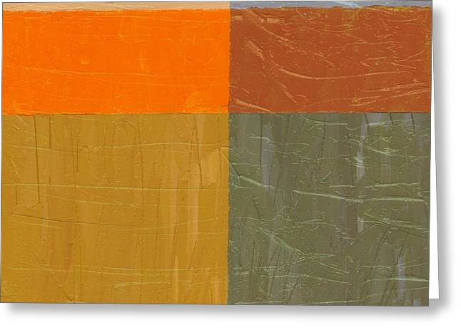 Orange And Grey Greeting Card by Michelle Calkins