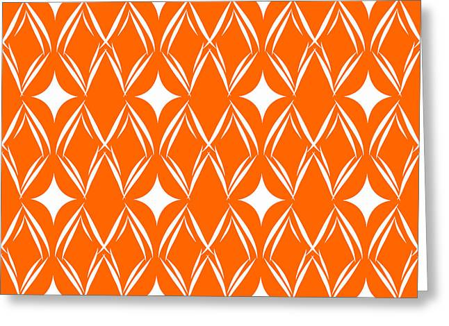 Orange And White Diamonds Greeting Card by Linda Woods