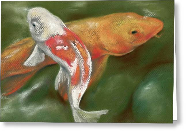Orange And White Koi With Mossy Stones Greeting Card