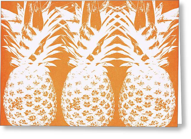 Orange And White Pineapples- Art By Linda Woods Greeting Card by Linda Woods