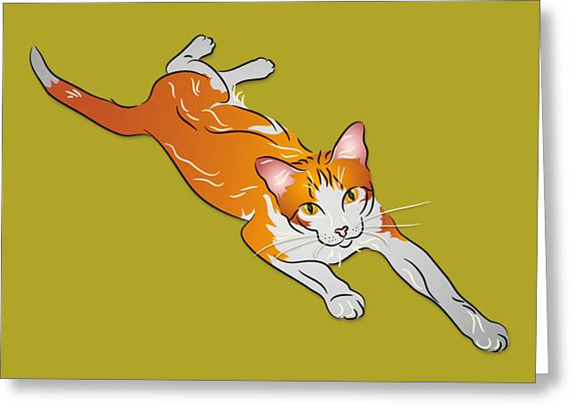 Orange And White Tabby Cat Greeting Card by MM Anderson