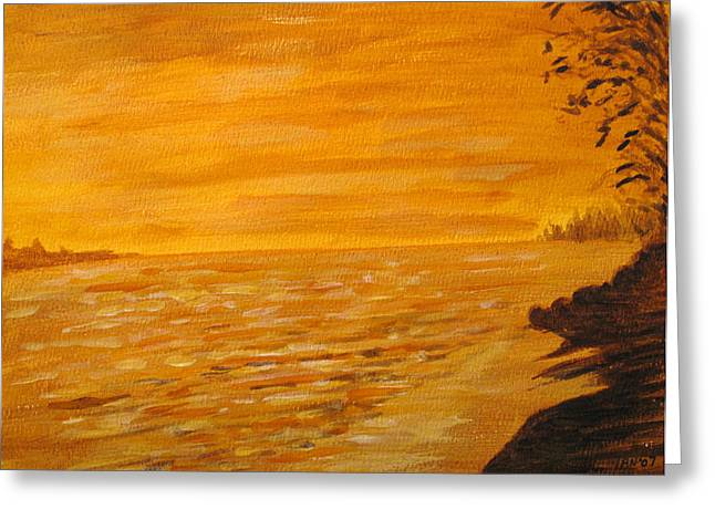 Greeting Card featuring the painting Orange Beach by Ian  MacDonald