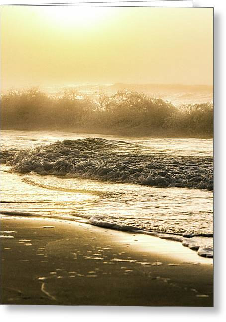 Greeting Card featuring the photograph Orange Beach Sunrise With Wave by John McGraw