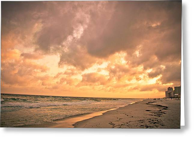 Orange Beach Greeting Card by Victoria Lawrence