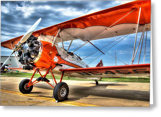 Orange Bi-plane Greeting Card by Dan Crosby