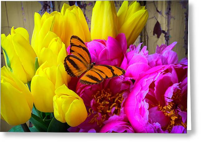 Orange Butterfly On Peony Greeting Card by Garry Gay