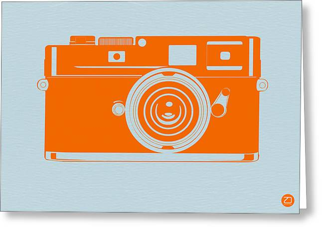 Films Photographs Greeting Cards - Orange camera Greeting Card by Naxart Studio