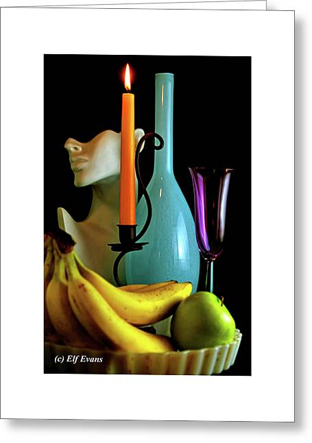 Orange Candle And Blue Bottle Greeting Card