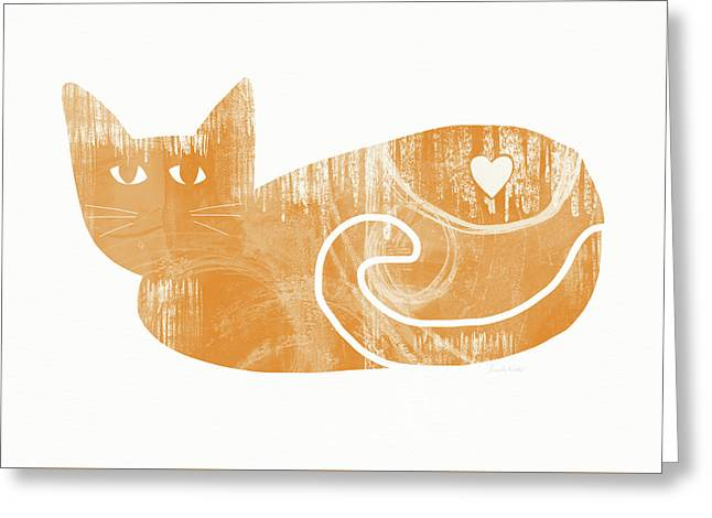 Orange Cat- Art By Linda Woods Greeting Card by Linda Woods