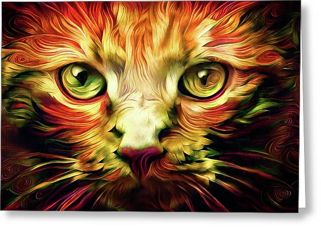 Orange Cat Art - Feed Me Greeting Card