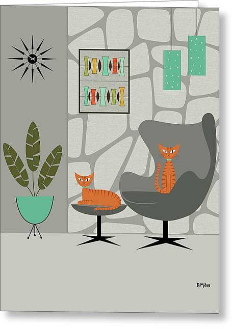 Orange Cat In Gray Stone Wall Greeting Card