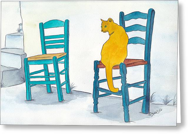 Orange Cat Greeting Card by Michaela Bautz