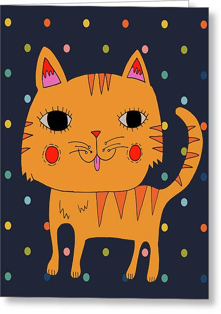 Orange Cat Greeting Card by Nicole Wilson