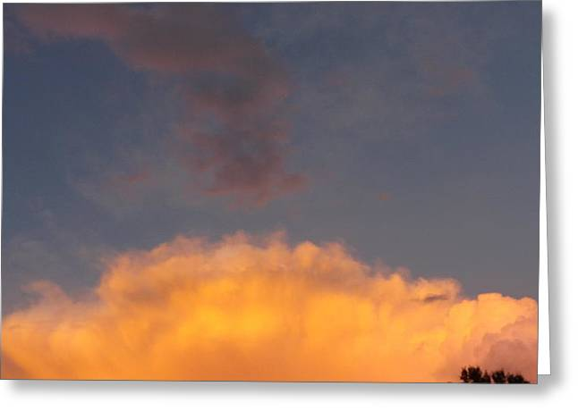 Orange Cloud With Grey Puffs Greeting Card