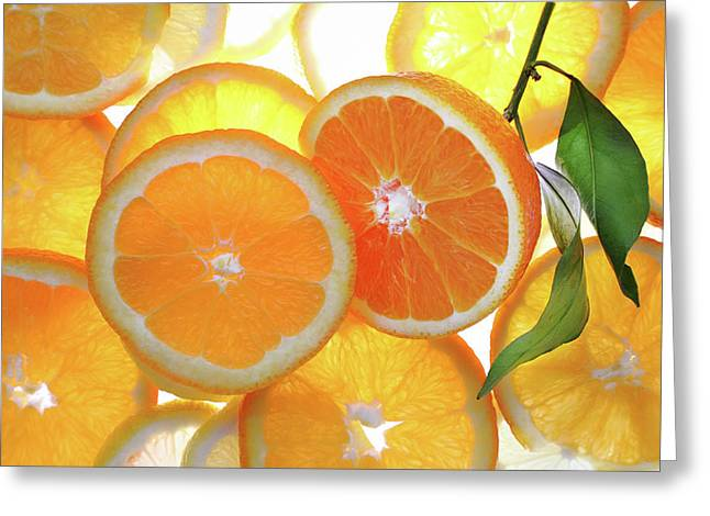 Orange Cut With Slices Of Citrus Background. Greeting Card