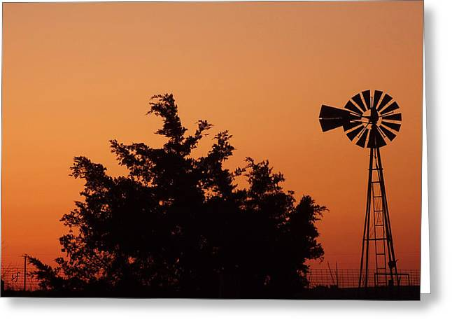 Orange Dawn With Windmill Greeting Card