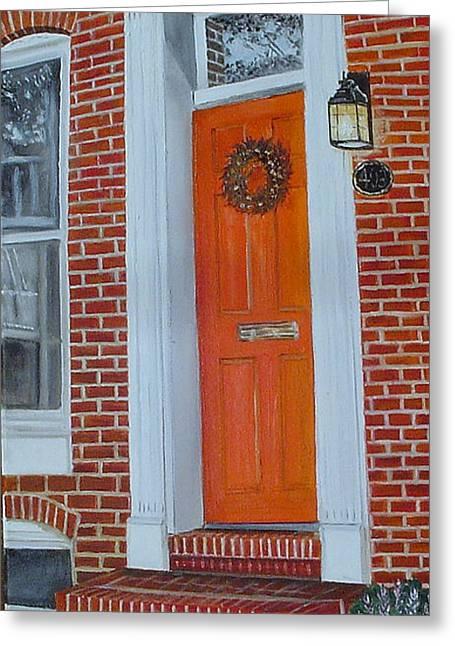 John Schuller Greeting Cards - Orange Door Fells Point Greeting Card by John Schuller