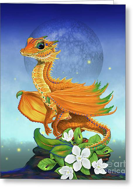 Orange Dragon Greeting Card by Stanley Morrison