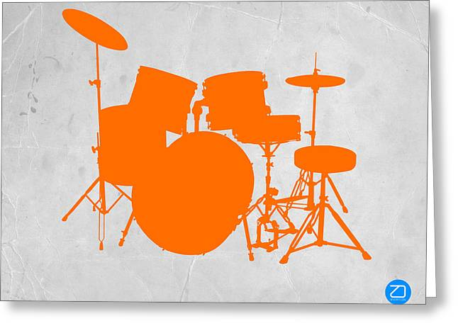 Drum Greeting Cards - Orange Drum Set Greeting Card by Naxart Studio