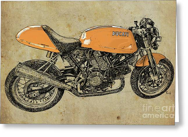 Orange Ducati, Original Handmade Drawing Greeting Card by Pablo Franchi