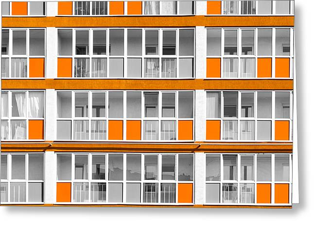 Orange Exterior Decoration Details Of Modern Flats Greeting Card