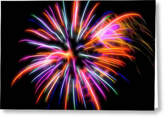 Greeting Card featuring the photograph Orange Fireworks by Yulia Kazansky
