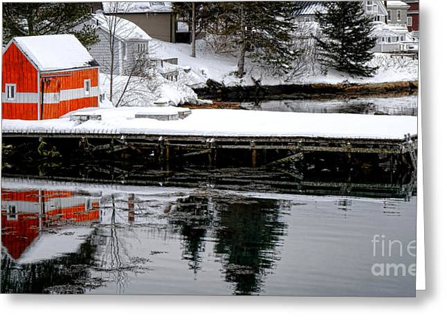 Orange Fishing Shack On A Dock In Maine Greeting Card