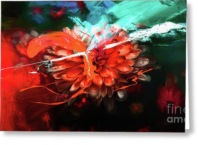 Orange Flower Abstract09 Greeting Card