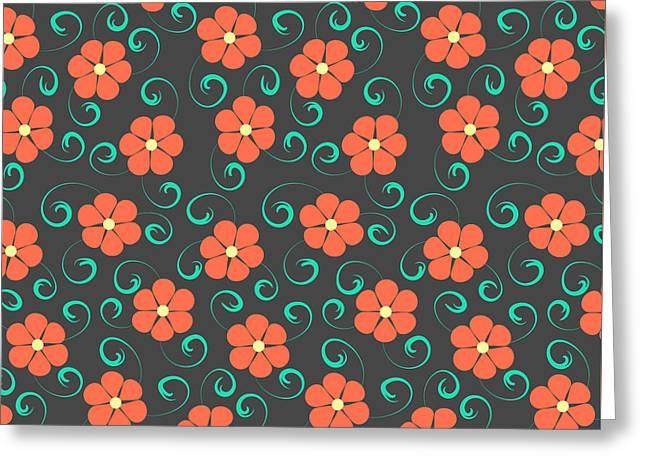 Orange Flower Pattern Greeting Card