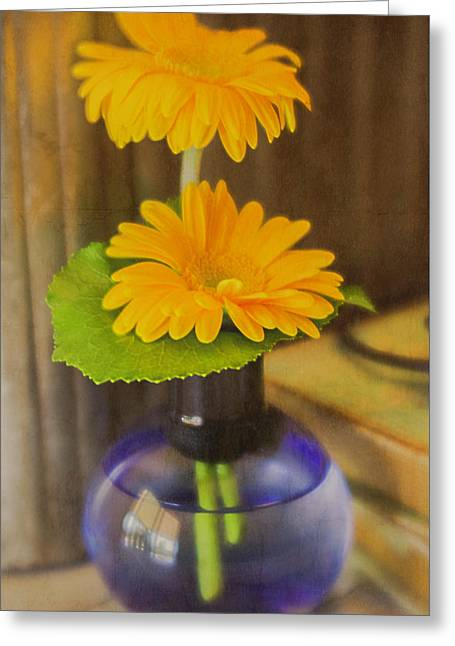 Orange Flowers Blue Vase Greeting Card