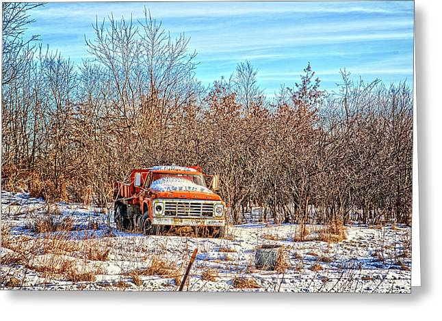 Orange Ford Dump Truck Greeting Card by Bonfire Photography