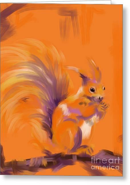 Orange Forest Squirrel Greeting Card