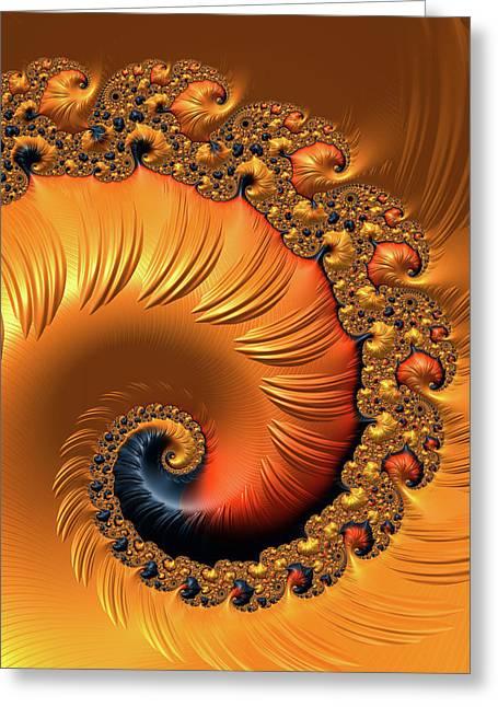 Greeting Card featuring the digital art Orange Fractal Spiral Warm Tones by Matthias Hauser