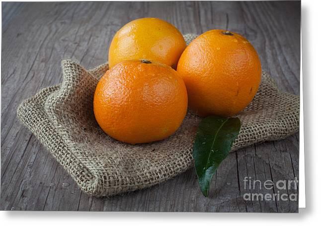 Orange Fruit Greeting Card by Sabino Parente