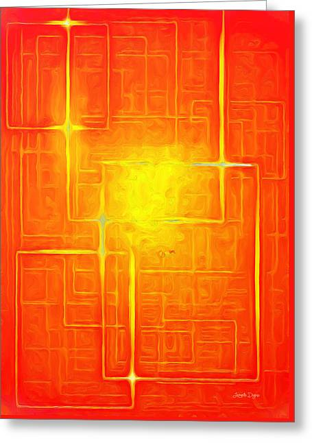 Orange Geometry - Pa Greeting Card by Leonardo Digenio