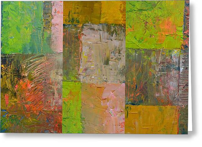 Greeting Card featuring the painting Orange Green And Grey by Michelle Calkins