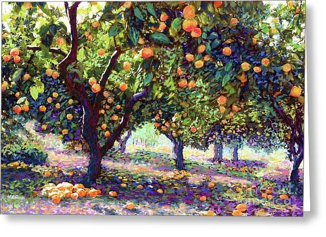 Orange Grove Of Citrus Fruit Trees Greeting Card