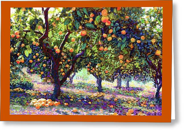 Orange Grove Of Citrus Fruit Trees Greeting Card