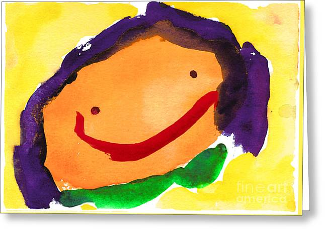 Orange Happy Face Greeting Card