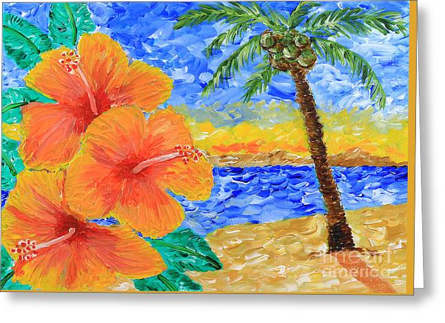 Orange Hibiscus Coconut Tree Sunrise Tropical Beach Painting Greeting Card