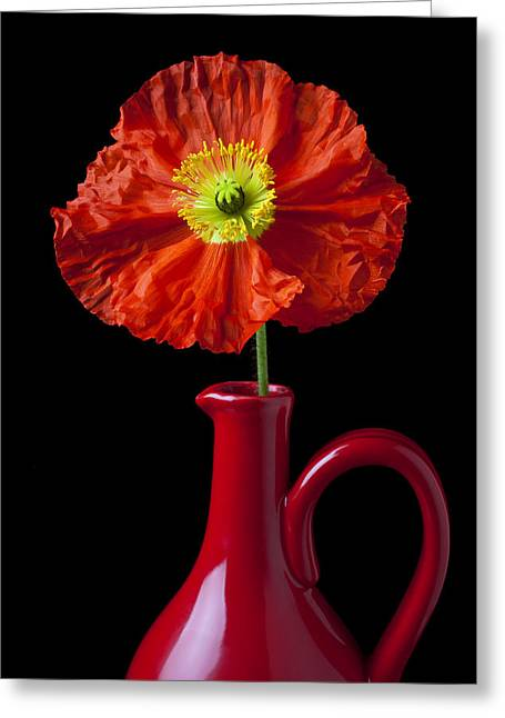 Orange Iceland Poppy In Red Pitcher Greeting Card