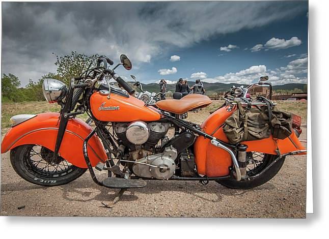 Orange Indian Motorcycle Greeting Card
