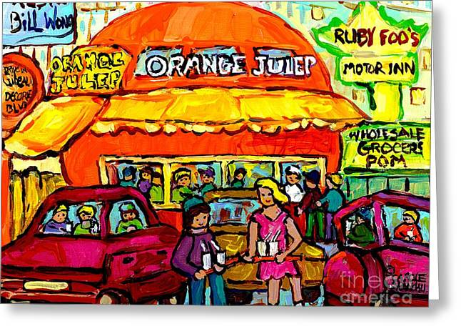 Orange Julep Fast Food Restaurant Decarie Skyline Canadian Painting For Sale Carole Spandau          Greeting Card by Carole Spandau