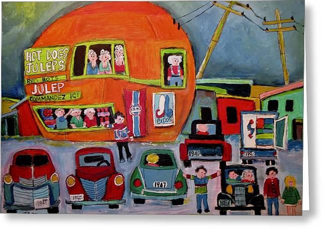 Orange Julep Old Car Night Greeting Card