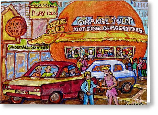 Orange Julep On Decarie Bill Wong Ruby Foo's Colorful City Scene Original Painting Montreal Memories Greeting Card by Carole Spandau