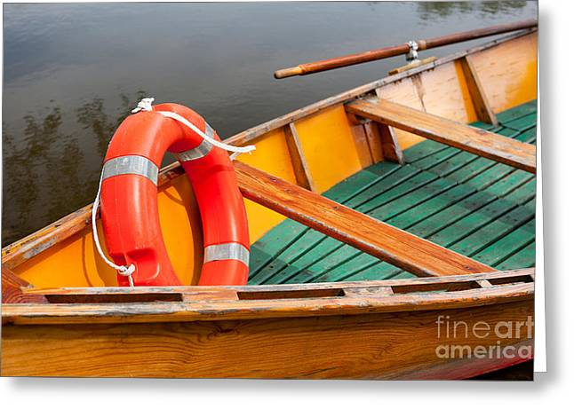 Orange Life Belt In Wooden Boat Greeting Card